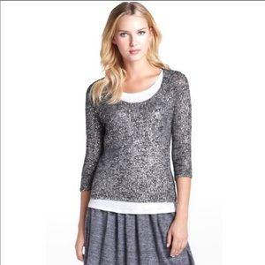 Eileen Fisher Ash Gray Metallic Weave Sweater Top
